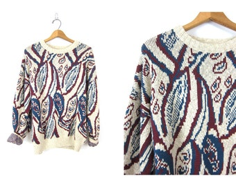 vintage red blue & white paisley sweater chunky thick knit baggy Cotton sweater oversized boyfriend sweater Lord Jeff jumper size XL