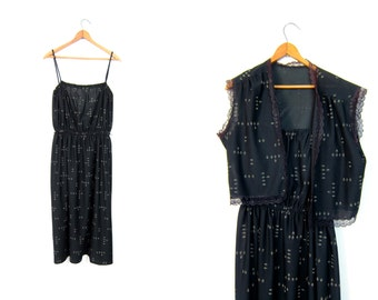 80s Black Floral Sun Dress Flower Print Vintage 70s Dress Spaghetti Strap Tank Dress Hippie Boho Midi Dress with Matching Vest Top Large
