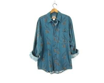 80s western WRANGLER shirt Blue Green Pheasant Bird Print button down shirt southwestern Urban Hipster cowboy vintage Top men's size XL