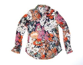 Floral 70s Blouse Colorful Flower Print Mod 60s Shirt Button Down Long Sleeve Shirt Bohemian Hippie Shirt Blouse Women Nylon Blouse XXS