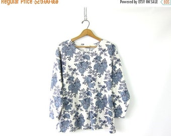 Thermal Floral Print Long Sleeve Long Underwear Top 90s Grunge Shirt Basic Oversized Slouchy Thermal Shirt Vintage Women's Size Medium