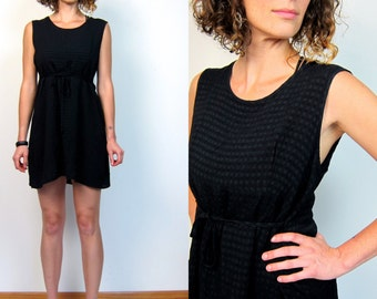 90s Black Checkered Dress Basic Black Mini Dress Grunge Sun Dress Sleeveless Mini Tunic Babydoll Revival Vintage Babydoll Dress Womens Large