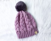 Knit cable hat with Faux Fur Pom Pom, knit hat, The Ingrid beanie, knit beanie, women accessory