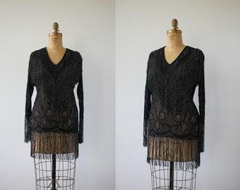 vintage 1970s black fringe top / 70s fredericks of hollywood blouse / fredericks of hollywood black fringe / sheer fredericks top / large xl