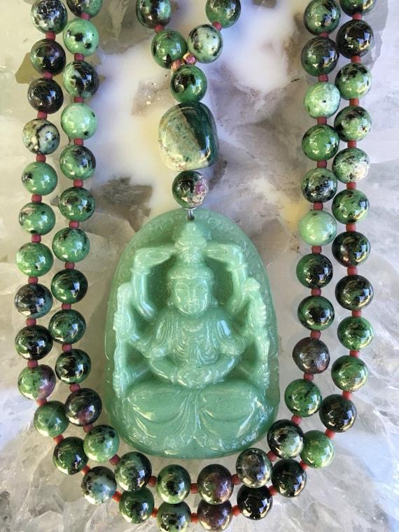 Ruby Zoisite and Aventurine Mala/Prayer Beads