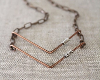 Chevron Necklace. Copper and Sterling Silver. Wire wrapped. Oxidized. Wire Jewelry.