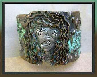 SHE is Not Impressed-Modernist Bracelet-Wild Haired Woman Mixed Metals Verdigris Patina Wide Bangle,Vintage Jewelry,Women/Unisex