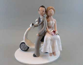 Cake Toppers - Bride & Groom on Vespa Custom Made Wedding Cake Topper
