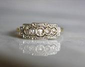 ANTIQUE VICTORIAN DIAMOND rosecut 18k gold 5 stone vintage engagement ring size 7 circa 1870