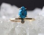 Vertical Turquoise + Diamond Ring