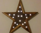 Rustic Barn wood Star with Lights - Oak