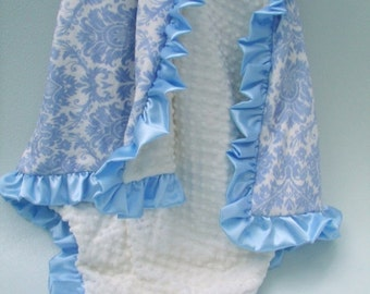 ON SALE Blue Damask and Cream Satin Ruffle Minky Baby Blanket