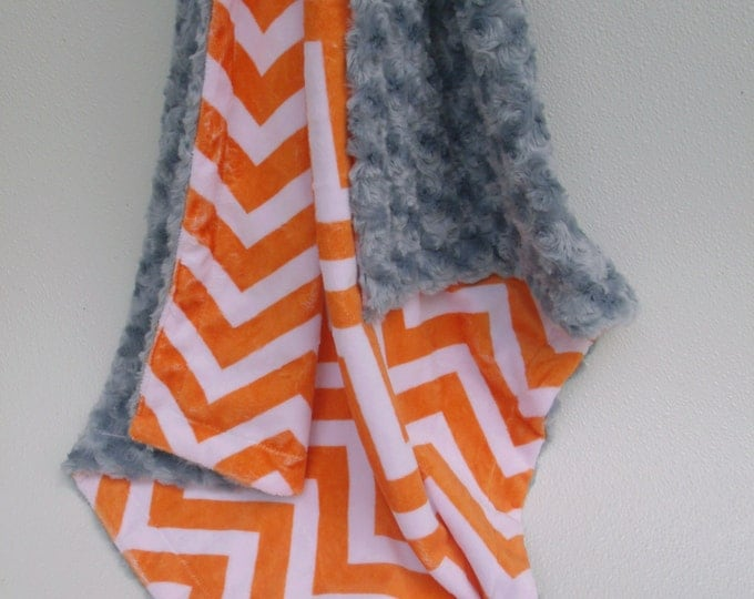 Orange Chevron with Charcoal Rose Swirl Baby Blanket, Orange Chevron and Gray Baby Blanket, Can Be Personalized