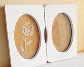 Shabby Chic White Double Oval Picture Frame Folding Wooden Distressed Wood Frosted Rose