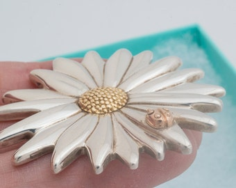 Tiffany & Co Daisy Flower Pendant Pin Sterling Silver 18K Gold