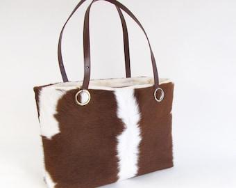 Brown Cowhide Handbag ~ Brown Leather Bag ~ Brown and White Hair on Hide Tote ~ Large Leather Bag ~ Brown and White Leather Bag ~ Brazilian