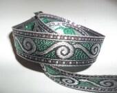 "Viking Jacquard Ribbon Trim Blue Metallic Silver Scroll Renaissance Norse Jacquard Ribbon Trim .75"" Wide x 4 Yds"