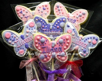 Butterfly Cookie Pops - 12 Cookie Pops
