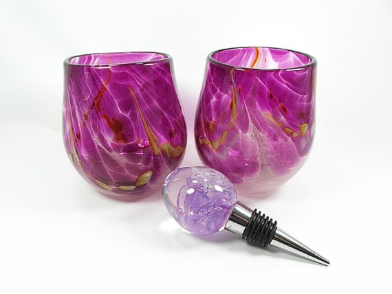 Hand blown stemless wine glasses in bold fuchsia with a lilac - Hand blown stemless wine glasses ...