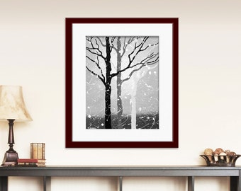 Black and White Print, Tree Art Print, Tree Wall Art, Abstract Print, Grey Art, Gray Trees, Forest Print, Signed Print