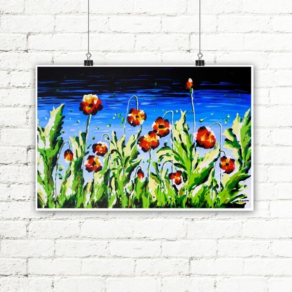 Red Poppy Print, Summer Wall Decor, Poppy Wall Art Print, Red Poppy Living Room Decor, Red Flower Art 13x18