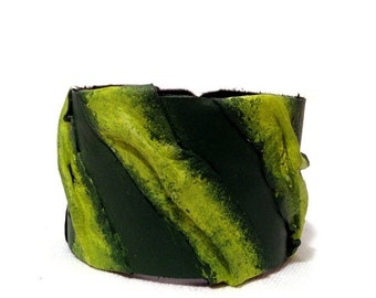 50% OFF SALE Green Casual Leather bracelet Womens fashion Cuff Wristband Bangle