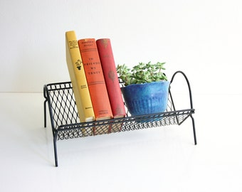 Mid Century Modern Metal Book Rack / Retro Black Metal Desktop Book Shelf