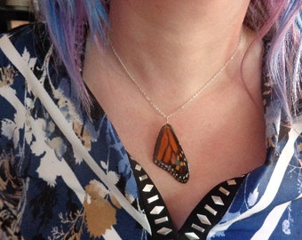 REAL Monarch Butterfly Wing Necklace THICK & SOLID