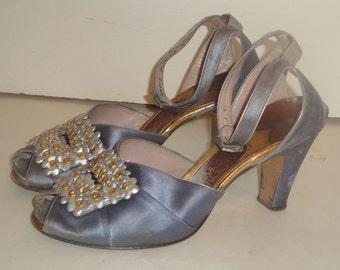 Vintage 20s 30s Gray Satin Peep Toe Shoes Flapper Bergdorf Goodman Delman 6 M