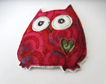 Applique Owl Embellishment, Owl Applique, Scrapbook Embellishment, Fabric Owl, Fabric Owl Patch, Free Motion Applique, Applique for Kids