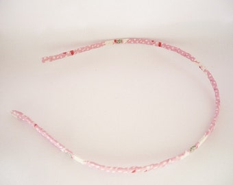 Fabric headband  - Pink white red fabric metal headband for women and girls - Adult headbands