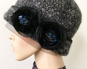 """SALE- Ladies Soft Felted Wool Cloche / Felted wool Hat / Rolled Brim  - Size 22 1/2""""  - Handmade - Ready to Ship"""