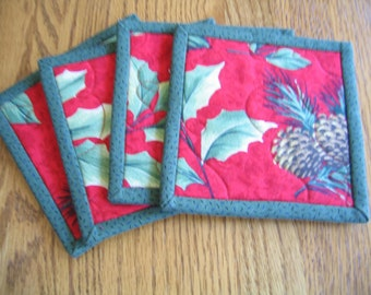 Quilted Coasters in a Pinecone and Leaves Pattern - Set of 4