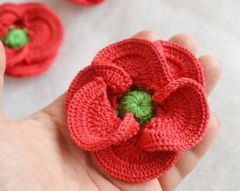 3D crochet poppy flower coral red x 3 embellishment