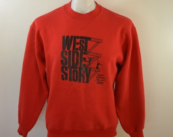 Vintage WEST SIDE STORY sweatshirt Large made in usa 80's Solano Children's Theatre