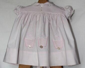 Vintage Toddler Girl Pink Cotton Dress by Nannette