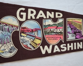 Vintage GRAND COULEE DAM felt pennant souvenir Washington