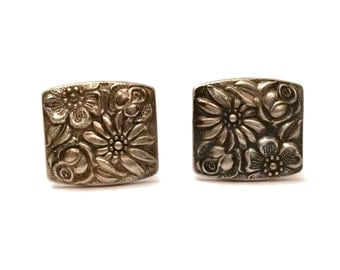 Sterling Cuff Links, Vintage Towle Sterling Silver Cufflinks Contessina Pattern, Vintage Flower Power Men's Jewelry, 1960s Retro Cufflinks