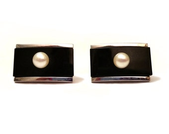 Pearl & Onyx Cufflinks, Geniune White Pearl and Black Onyx Cuff Links, Silver Metal Vintage Men's Jewelry Cufflinks, Sterling Silver