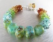 BIGGEST SALE EVER Handmade Lampwork Beads With Mixed Gemstone Cluster Bracelet