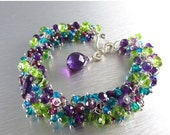 BIGGEST SALE EVER Colorful Gemstone Bracelet - Peridot, Amethyst, Garnet And teal quartz With Sterling Silver