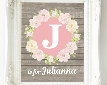 Personalized Nursery Art, Baby Girl Nursery Wall Decor, Custom Name Print, Pink Gray Grey Nursery Wall Art, Girl Wall Art, Floral Monogram