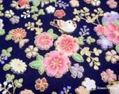 Beautiful Kimono Fabric - Chirp Chirp Sakura on Dark Navy Blue - Fat Quarter (ta160528)