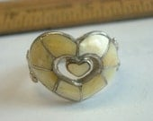 RESERVED FOR PATTYCAKE539  size 8 vintage shell inlay ring  ( C 60 )
