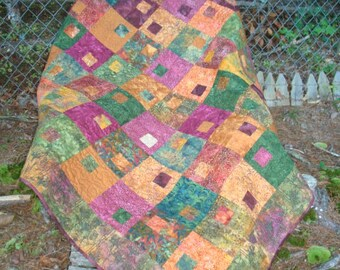Green Gold and Burgundy Lap Throw Quilt