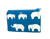 Small Zipper Pouch, Small Card Pouch, Fabric Pouch, Coin Purse, Change Pouch, Cute Gift, Gift for her, Elephants in Light or Dark Aqua