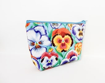 Pansy Pouch, Change Pouch, Zipper Pouch, Fabric Pouch, Fabric Zipper Pouch, Floral Pouch, Zipper Case, Kaffe Fasset Pouch, Cosmetic Bag