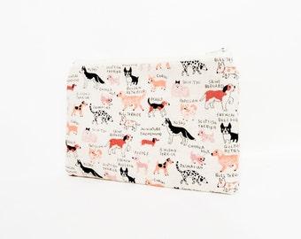 Pouch, Zipper Pouch, Fabric Pouch, Pencil Pouch, Cosmetic Pouch, Coin Purse, Change Pouch, Zipper Case, Dog Pouch, Dog Zipper Pouch, Case