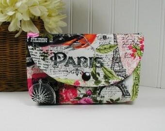 Snap Pouch, Large Snap Pouch, Cosmetic Pouch ... Bonjour Paris, Vintage Paris, Paris Postcard
