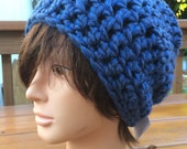 Blue Cozy Crocheted Slouch Hat 33/15